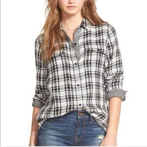 Madewell black and white plaid button down